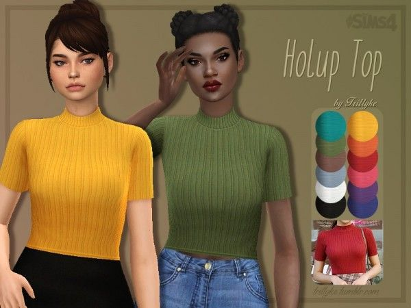 The Sims Resource: Holup Top by Trillyke • Sims 4 Downloads