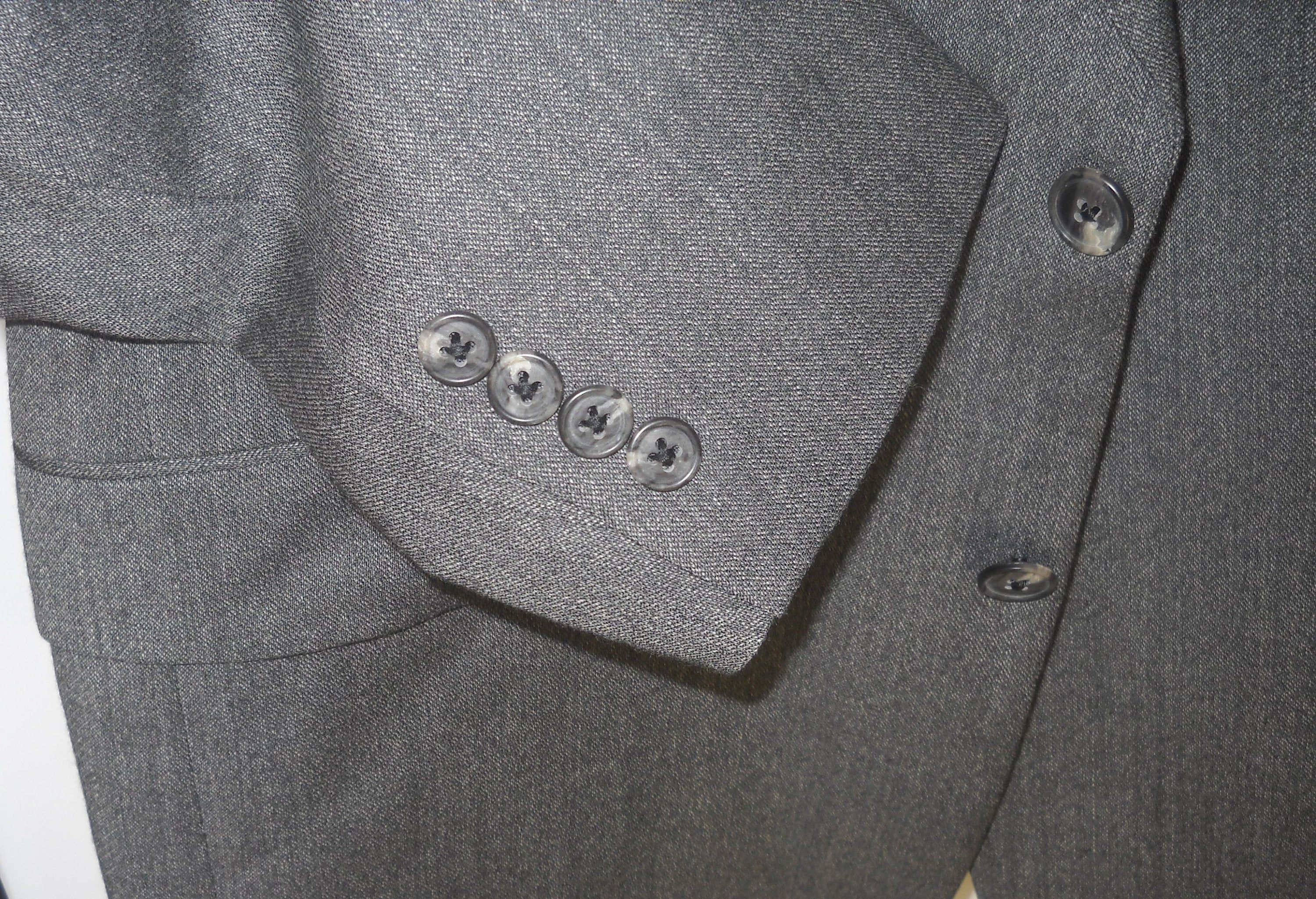 44r Austin Reed Charcoal Gray Black Subtle Stripes 2 Button Etsy Cuffed Pants Black Weave Suits