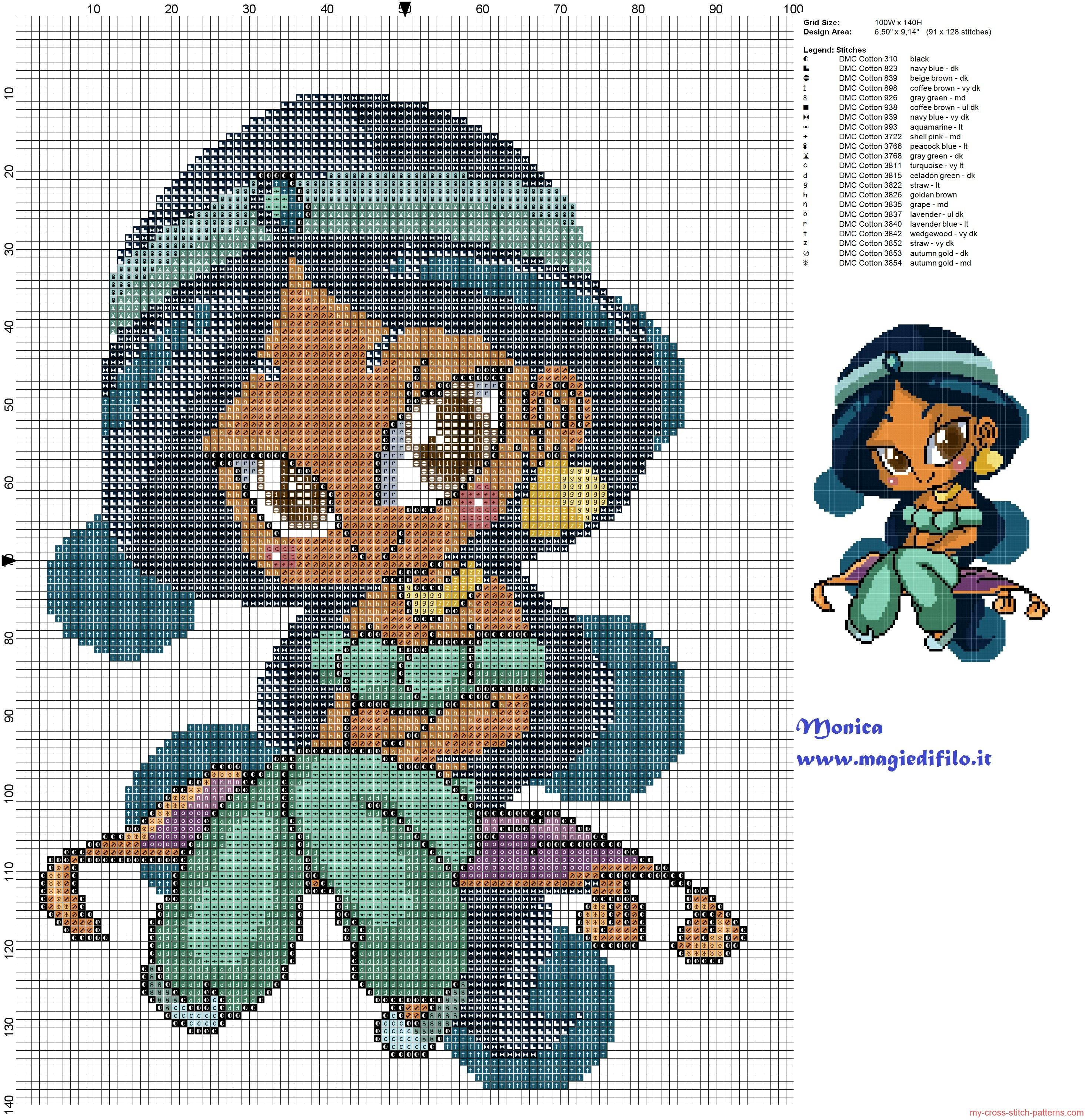 Chibi Jasmine patrón punto de cruz | Flores de colores | Pinterest ...