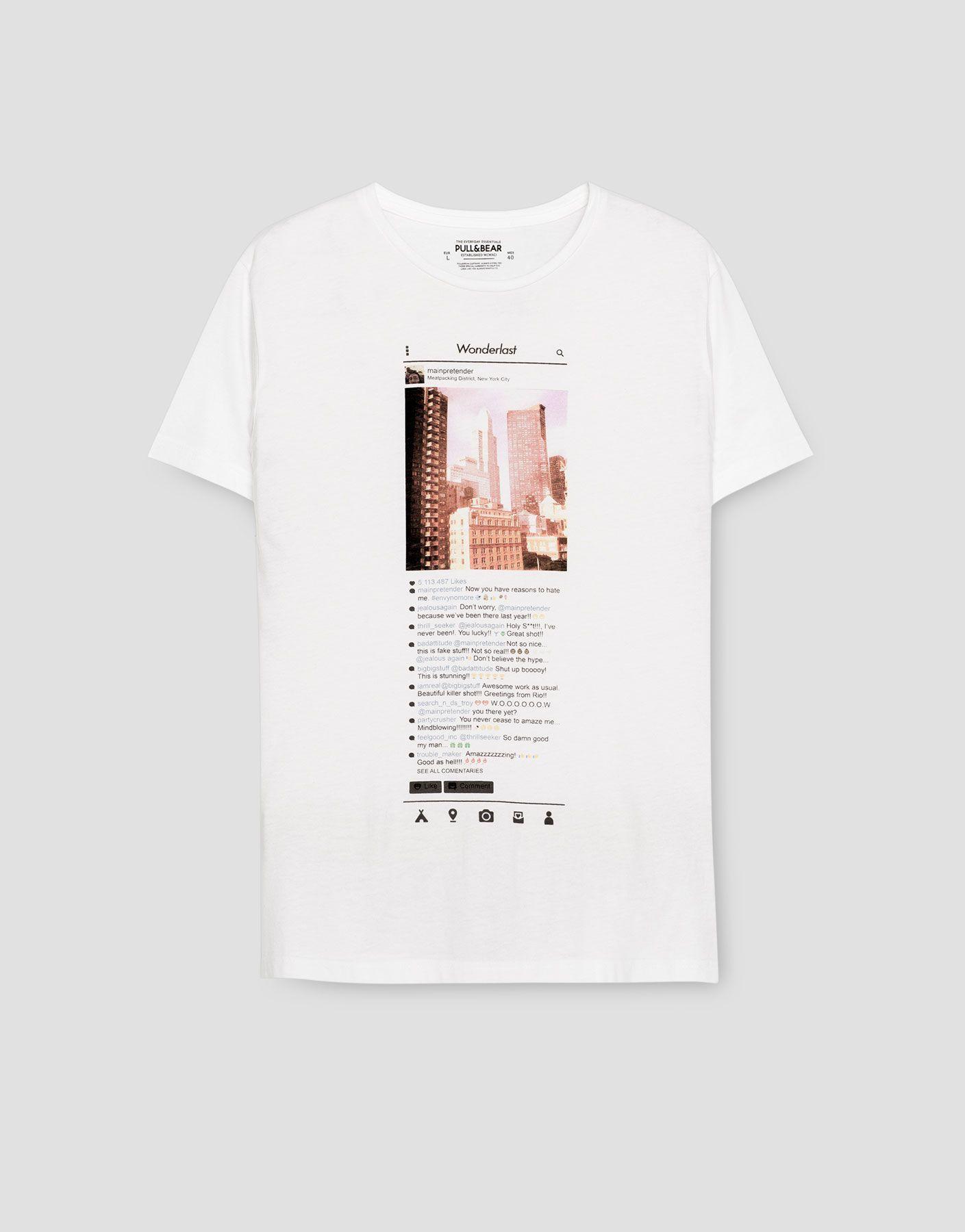 Camiseta Fotográfica Camisetas Ropa Hombre Pull Bear España Camisetas Camisetas Femeninas Camisetas Estampadas