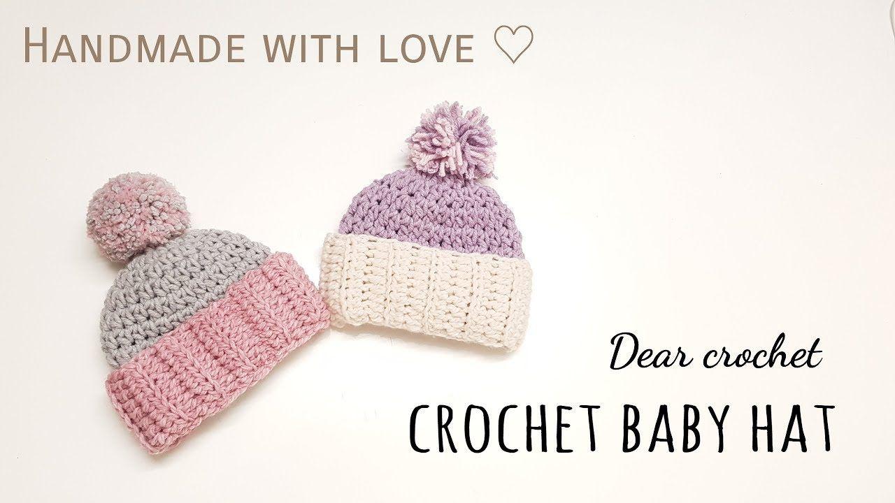 코바늘 아기 겨울 모자 뜨기 (crochet baby hat ) - YouTube | Baby Hat ...