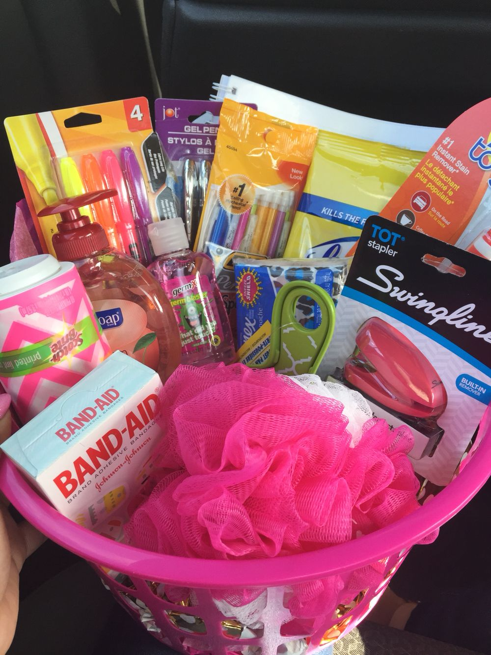 Made My Friend A Going Away Basket For College With All Necessities She Loved It Graduation Gift Basket College Gift Basket For Girls Diy Graduation Gifts