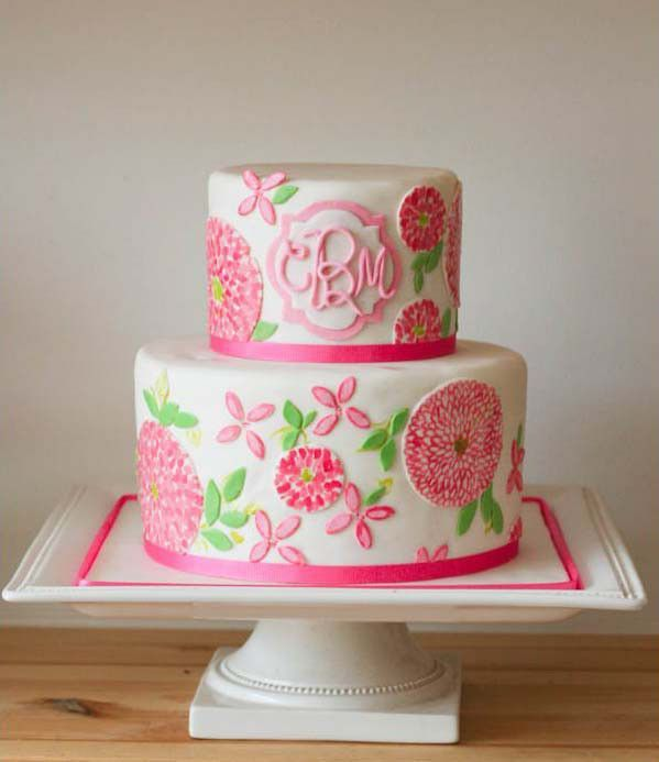 Colorful Pinks  Greens Applique Two-Tiered Cake