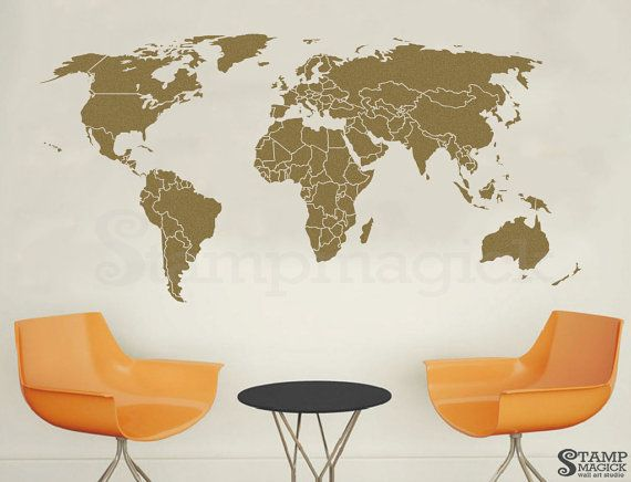 World map wall decal outlines countries world map wall art sticker world map wall decal countries world map wall art by stampmagick gumiabroncs Gallery