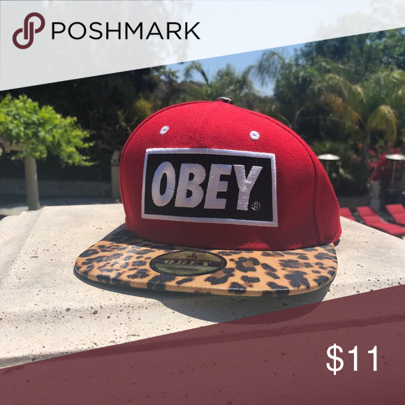 Red And Leopard Obey Hat Hats Leopard Obey