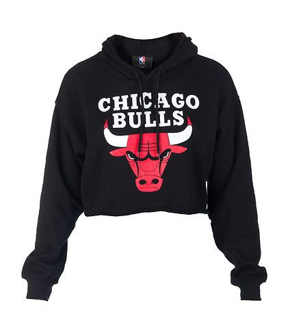 NBA 4 HER Cropped hoodie Long sleeves CHICAGO BULLS logo on front  Adjustable drawstring on hood Soft inner fleece for comfort 66bf1a9051c