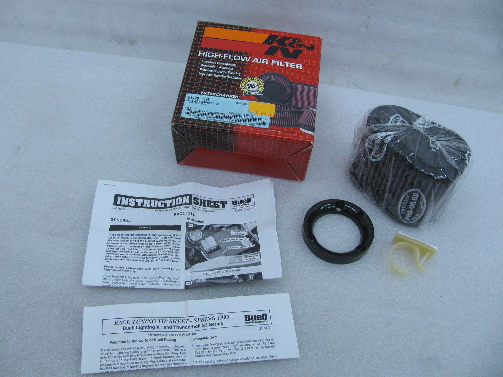 New HarleyDavidson K&N HighFlow Race Air Filter 91420
