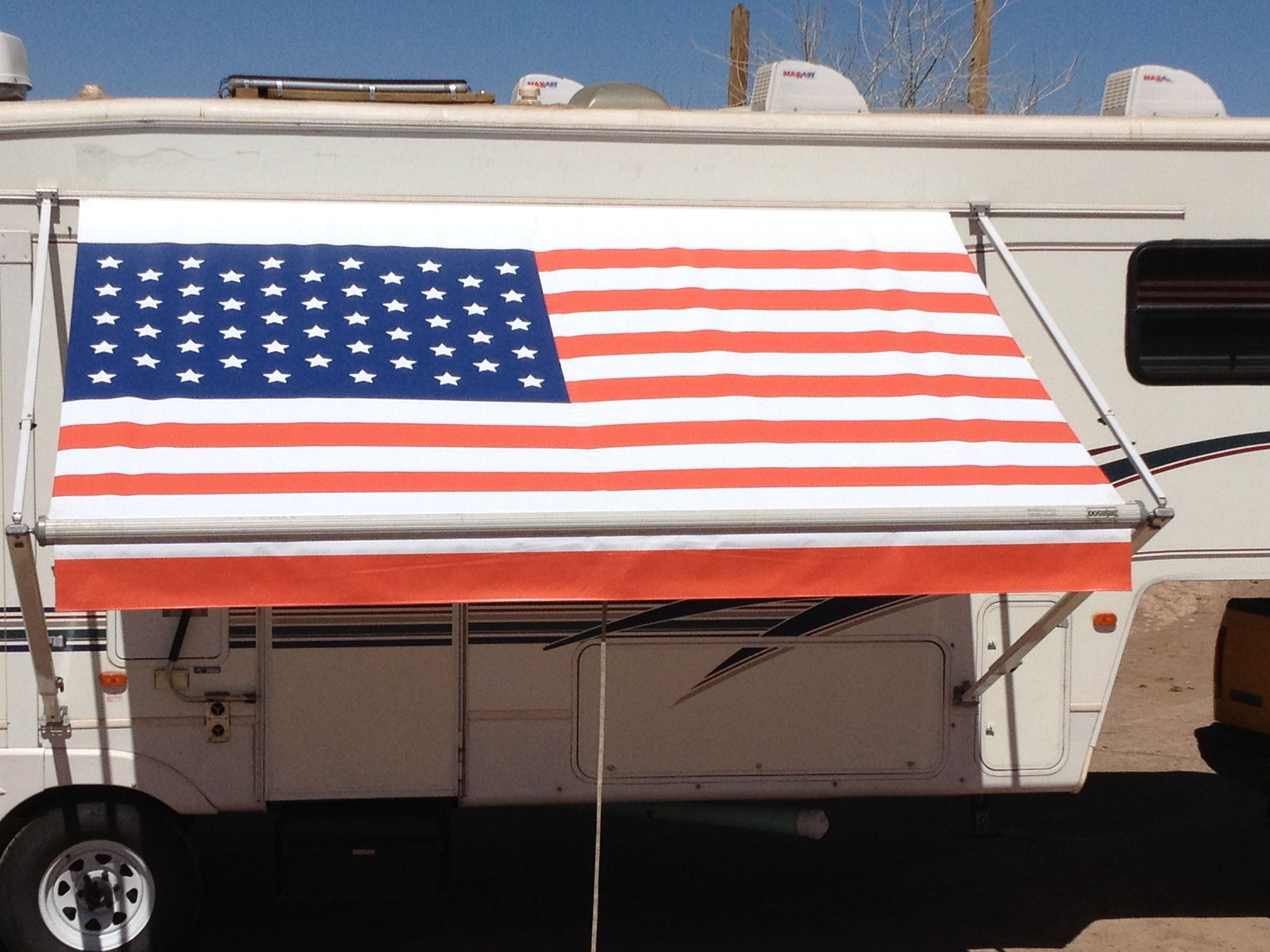 American Flag Rv Awning By Fun In The Shade Camper Awnings Rv