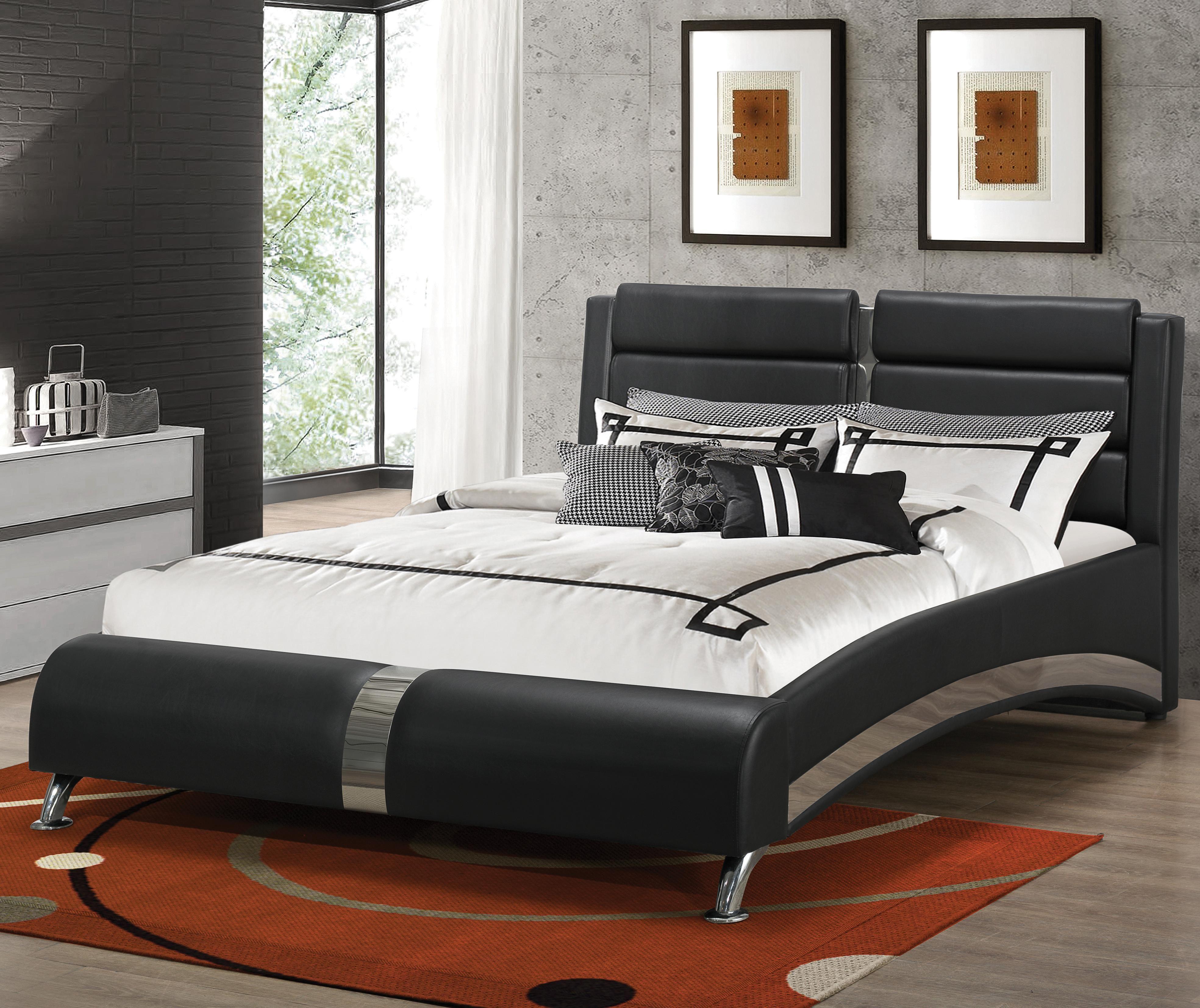 Jeremaine Contemporary Black Metal Fabric Queen Bed Platform Bed