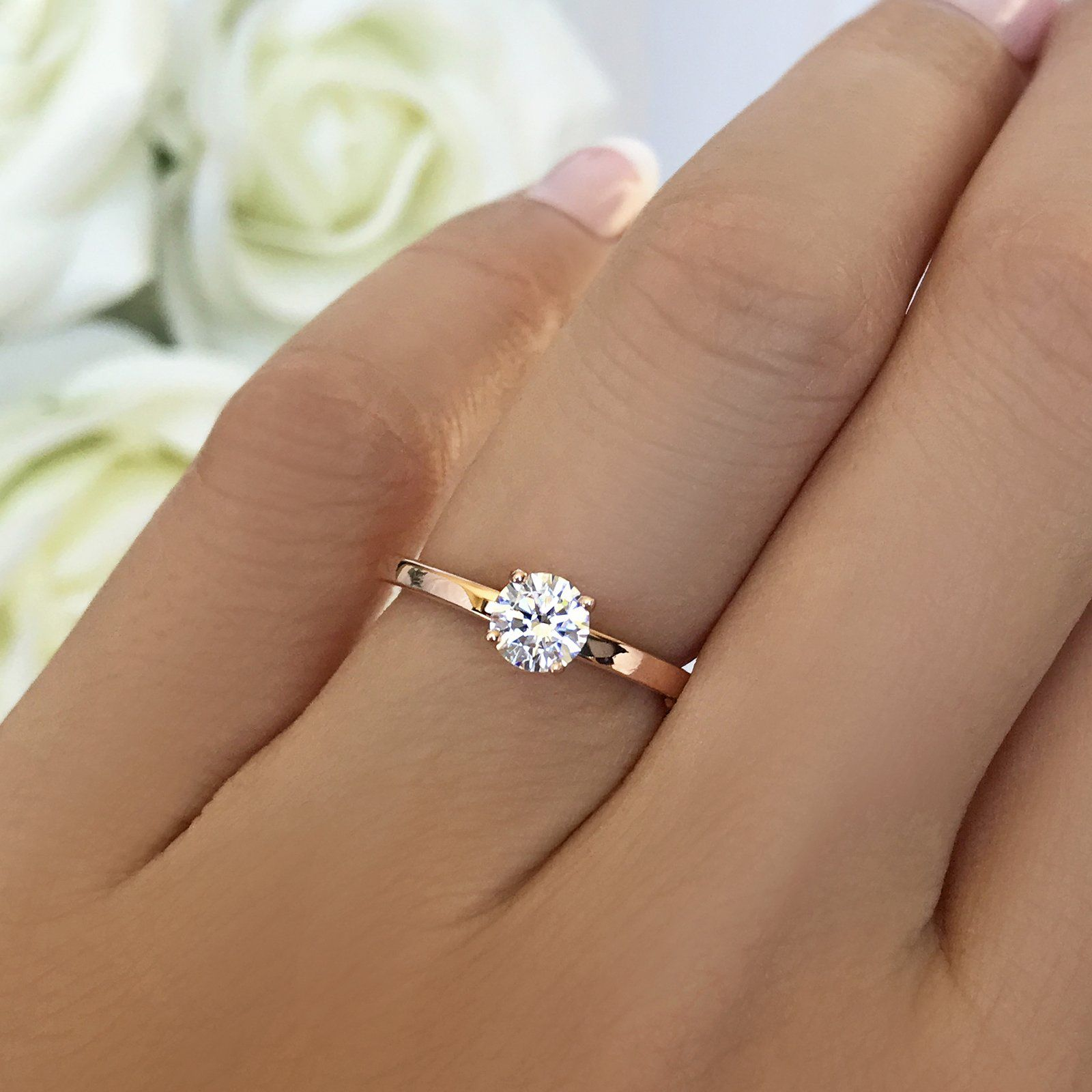 1 2 Ct Solitaire Ring 10k Solid Rose Gold Solitaire Engagement Ring Rose Gold Rose Engagement Ring Diamond Solitaire Engagement Ring