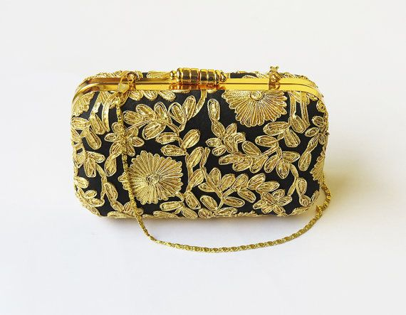 BOX GOLD CLUTCH, Floral bag, Antique black gold clutch, god minaudiere, Luxury evening Bag, wedding bag, bridesmaid clutch