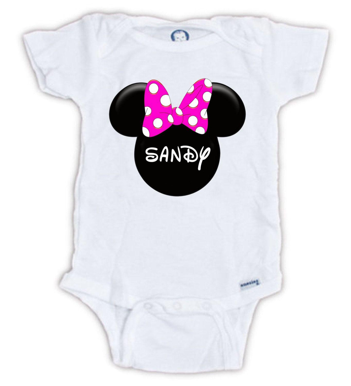 Custom Minnie Mouse esie Minnie Head Baby Name by JujuApparel on