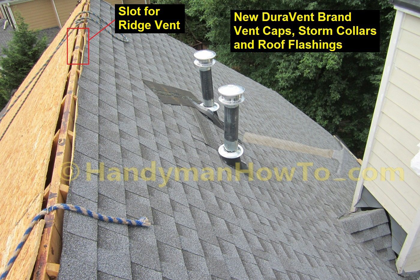 Hail Damaged Roof Replacement Type B Gas Flue Roof Vents