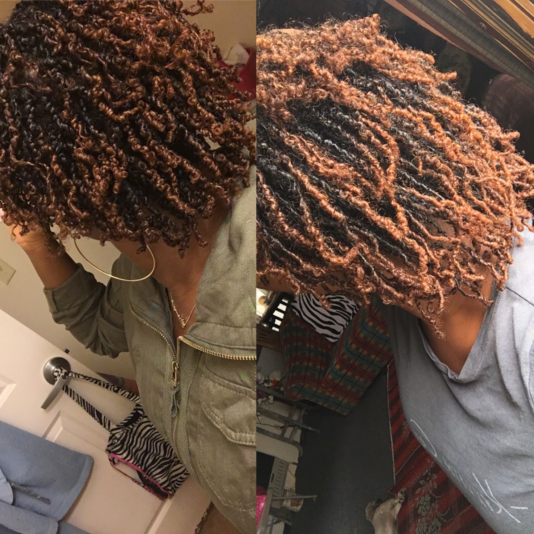 Month 1 vs month 2. The only thing that is annoying is like three of the same twists keeps unraveling. I'm thinking about rubber banding those ends. I've washed my hair once with Dr bronner's peppermint soap and partially retightened once. #locjourney #womenwithlocs #twiststolocs #smalllocs