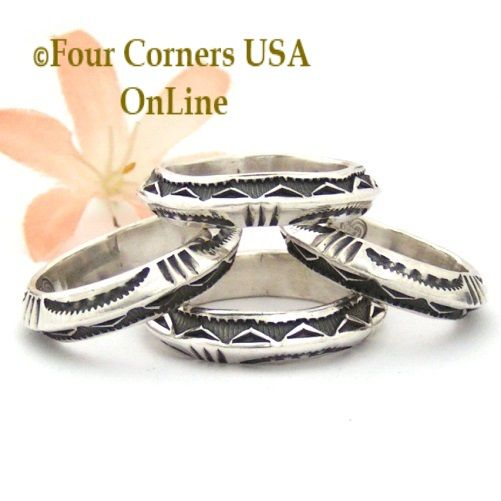 Solid Silver hand forged Band Rings Navajo Darrell Cadman Four Corners USA OnLine Native American Jewelry http://stores.fourcornersusaonline.com/brands/Darrell-Cadman.html