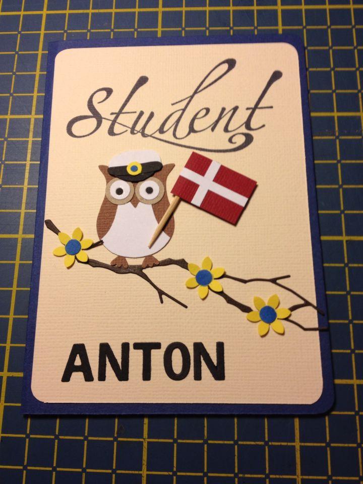 Studenter-kort - kort med ugle og dannebrog - woodland branch die - eksamen student studenter eksamen card graduation