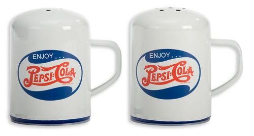 "Pepsi Enamelware S & P Shakers  Size: 2.75"" X 3.75""  $12.95"