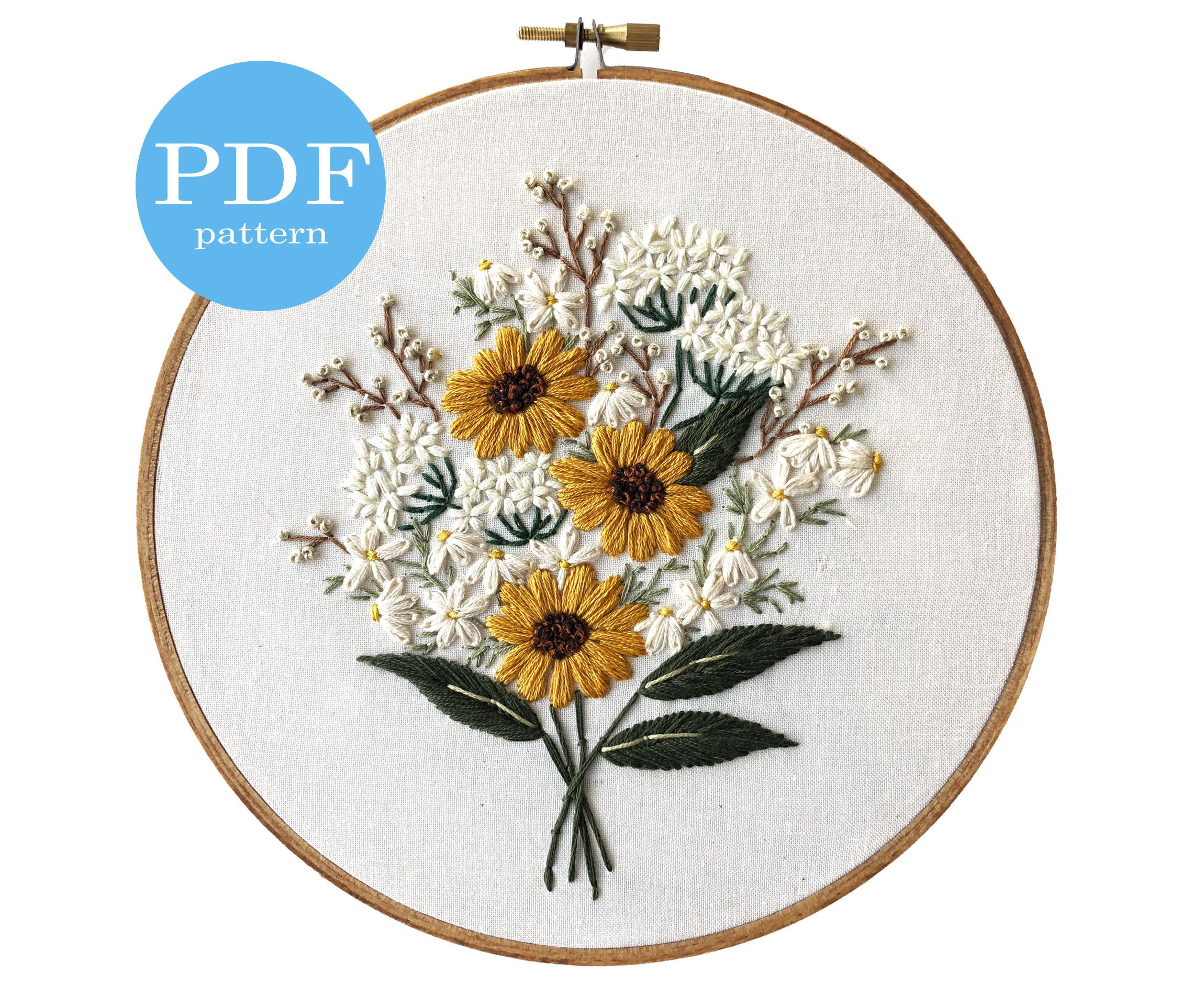 Wildflower Bouquet Embroidery Pattern. Beginner Embroidery.   Etsy ...