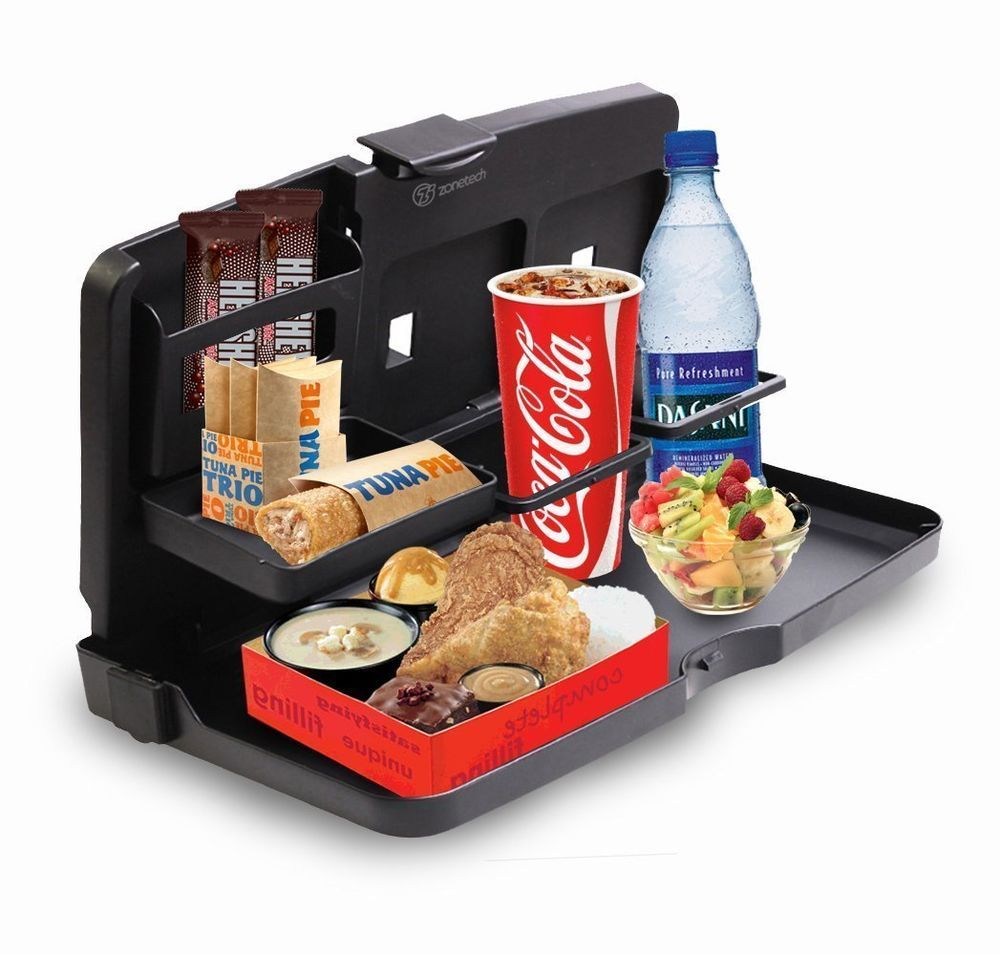 Auto back seat organizer with tray drink food cup tray
