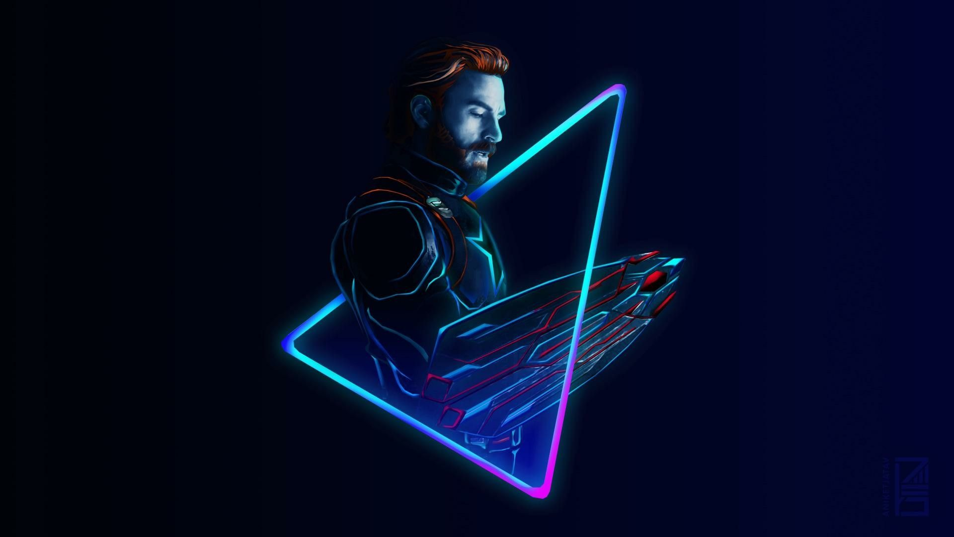 Neon Captain America By Aniketjatav Marvel Wallpaper