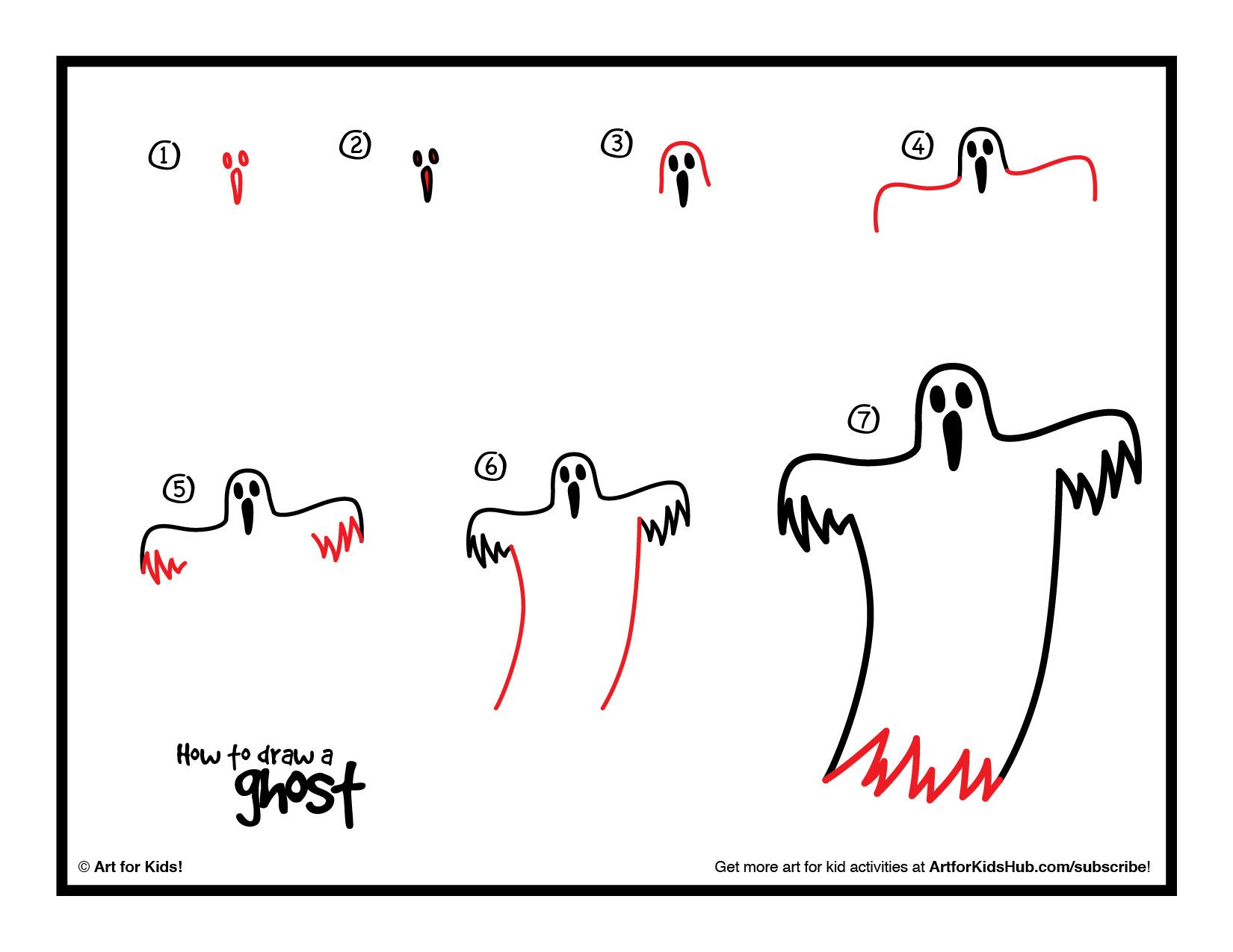 How To Draw A Ghost Art For Kids Hub Art For Kids Hub Easy Drawings Halloween Drawings