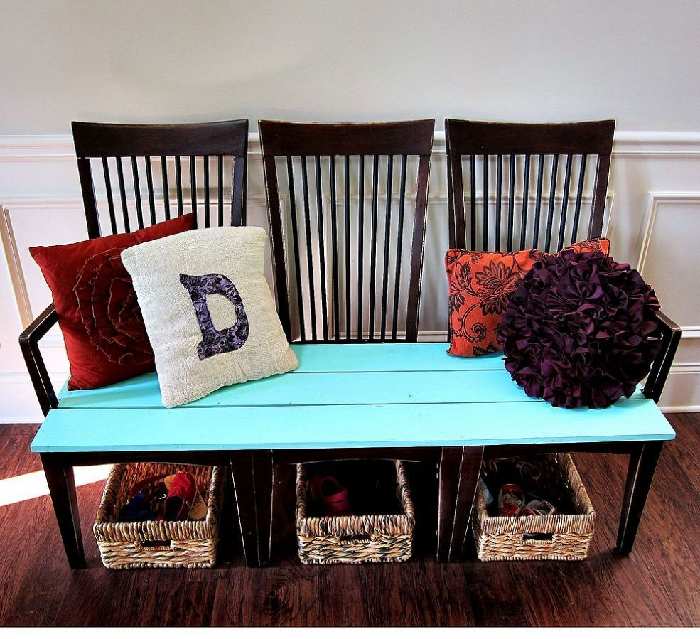 Repurpose old kitchen chairs bench kitchens and repurpose