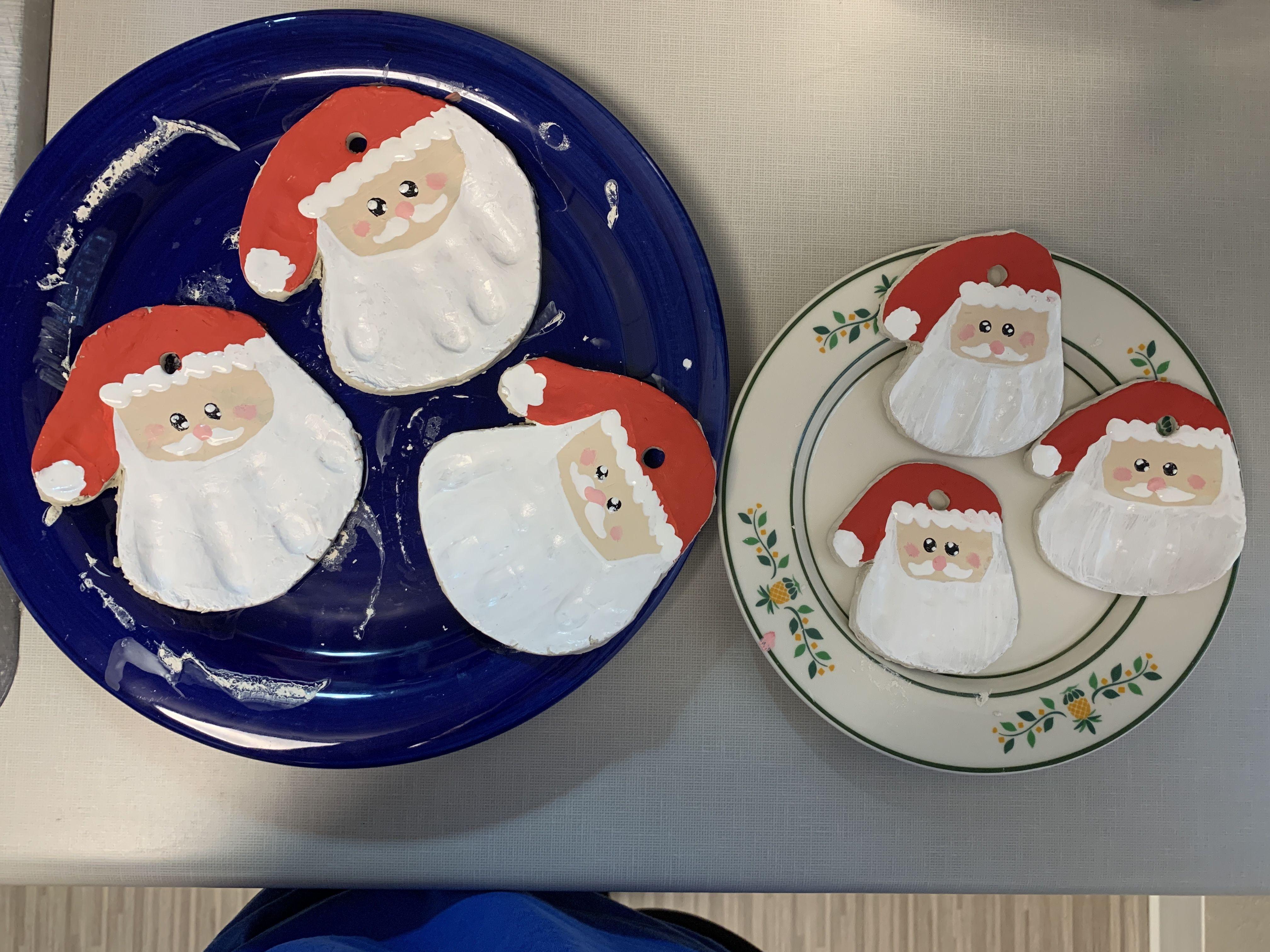 Handprint Santa Clay Ornaments Christmas Decor Diy Air Dry Clay