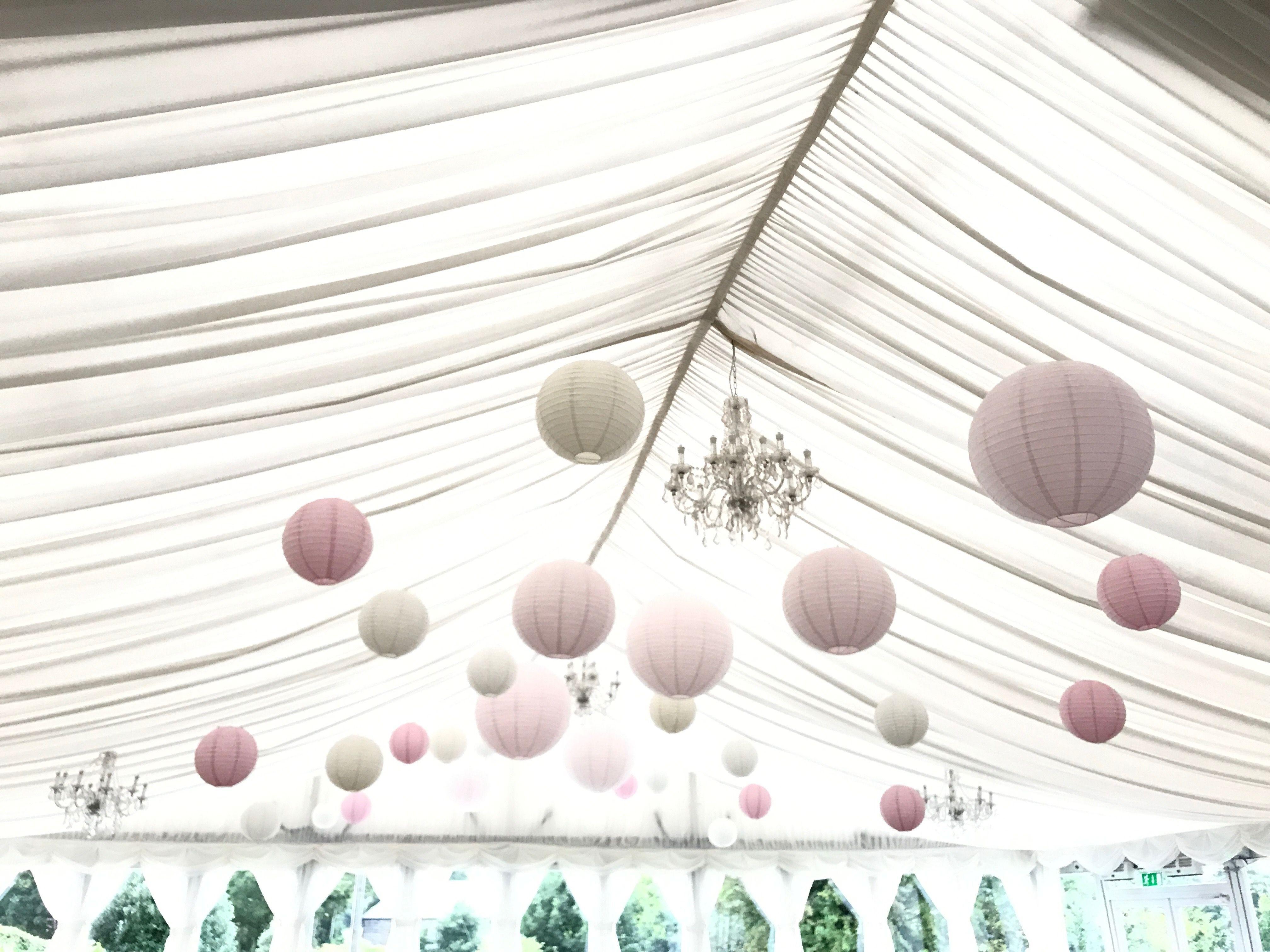40 cream, lace, soft pink paper lanterns