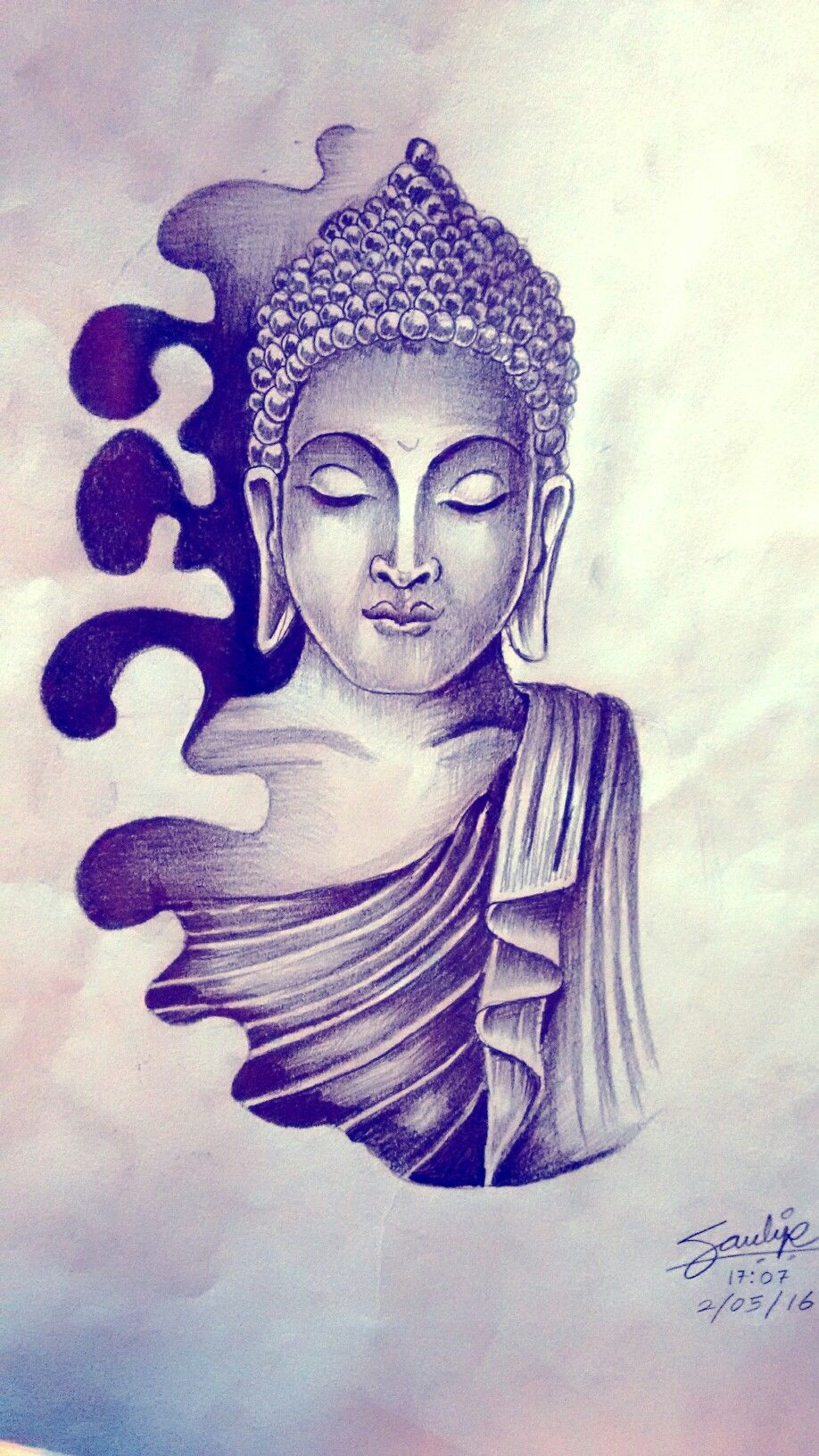 lord buddha tattoo drawing by artist sandip uttam at. Black Bedroom Furniture Sets. Home Design Ideas