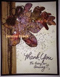 stampendous pen pattern leaves and coordinating die, greeting is also by Stampendous. Jennie Black