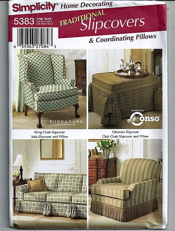 Traditional Slipcovers Original Simplicity Home Decorating Pattern 5383 By