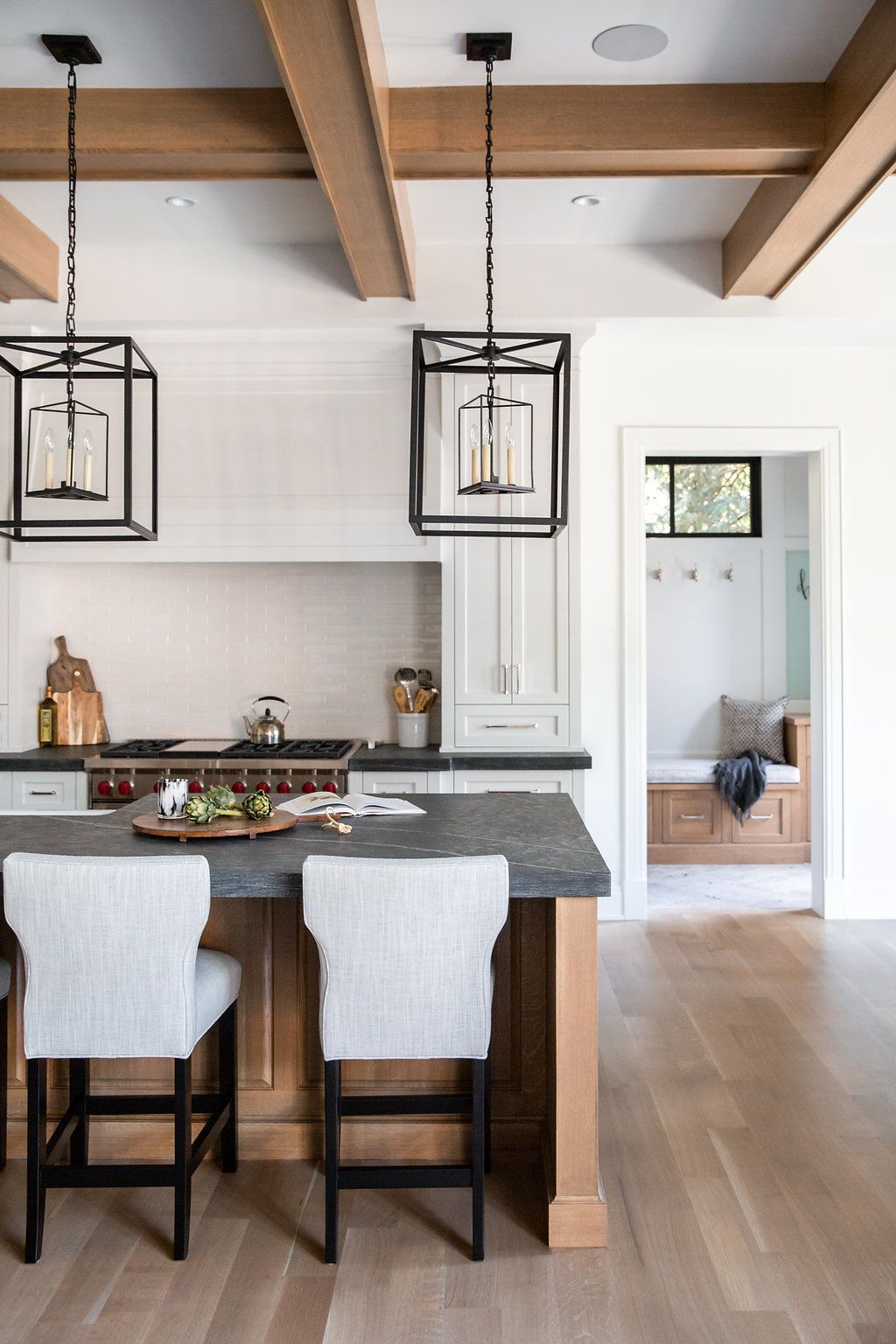 black iron pendants in this natural inspired kitchen on modern kitchen design that will inspire your luxury interior essential elements id=97422