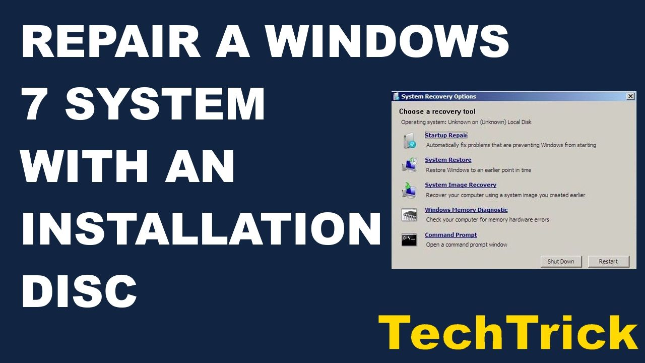 Repair A Windows 7 System With An Installation Disc Installation