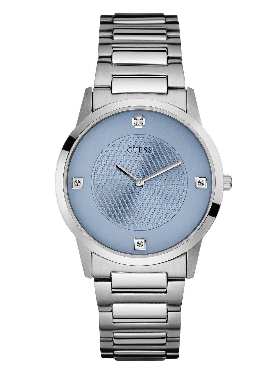Ice Blue and Silver-Tone Diamond Dress Watch