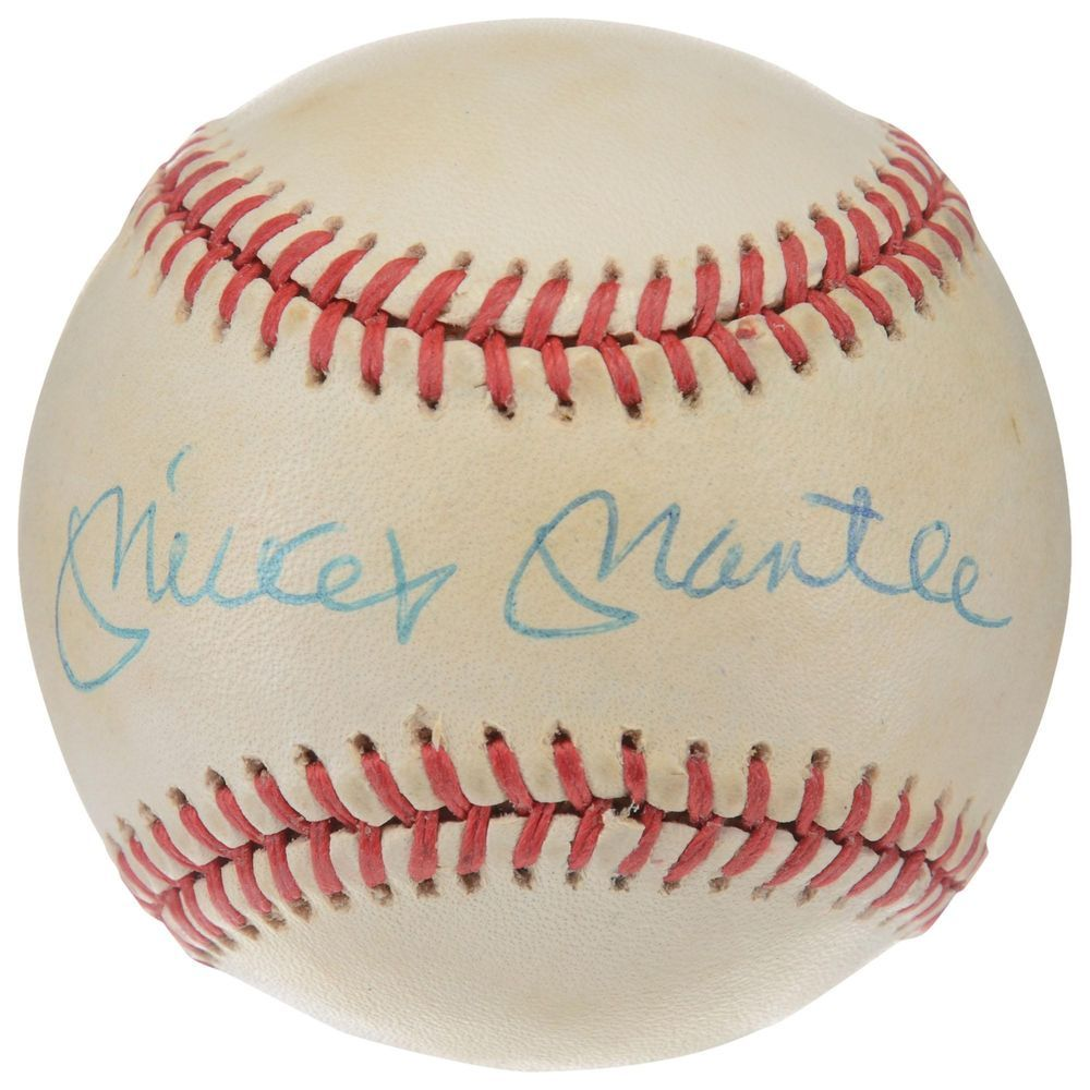 Mickey Mantle New York Yankees Autographed Baseball I01370 Psa Dna Certified Autographed Baseballs Baseball Quotes Baseball Dugout