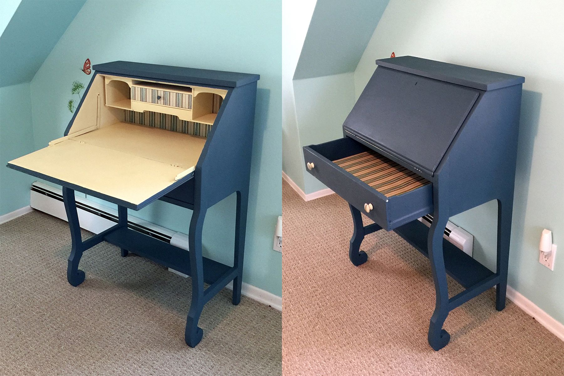 A Small Secretary Desk Transformed With Annie Sloan Aubusson Blue