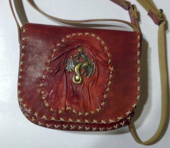 Leather handmade bag/Dragon on Terracotta /Saddle bag Messenger bag Crossbody bag Shoulder bag Postman bag/Hand stitched embedded flap