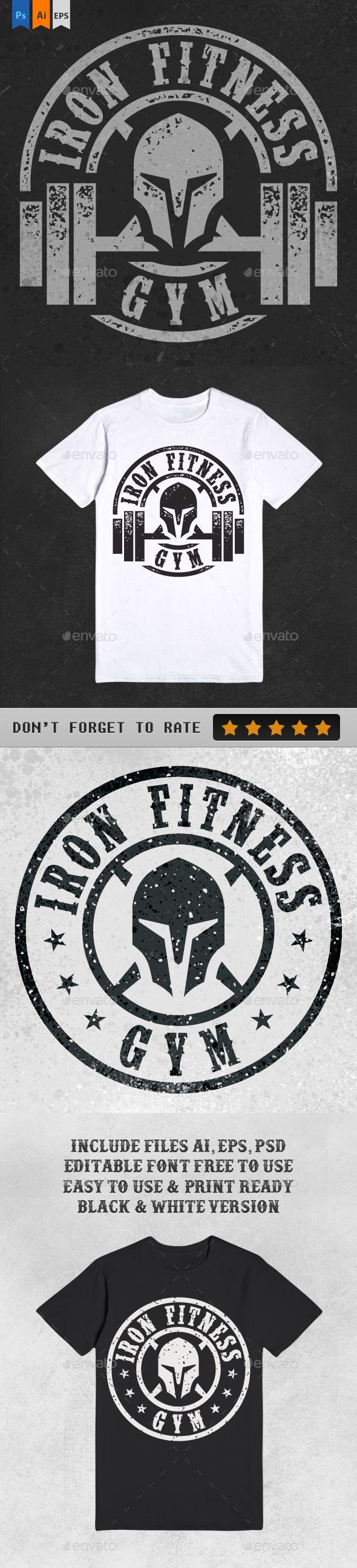 Double Iron Fitness Gym Illustration for TShirt design