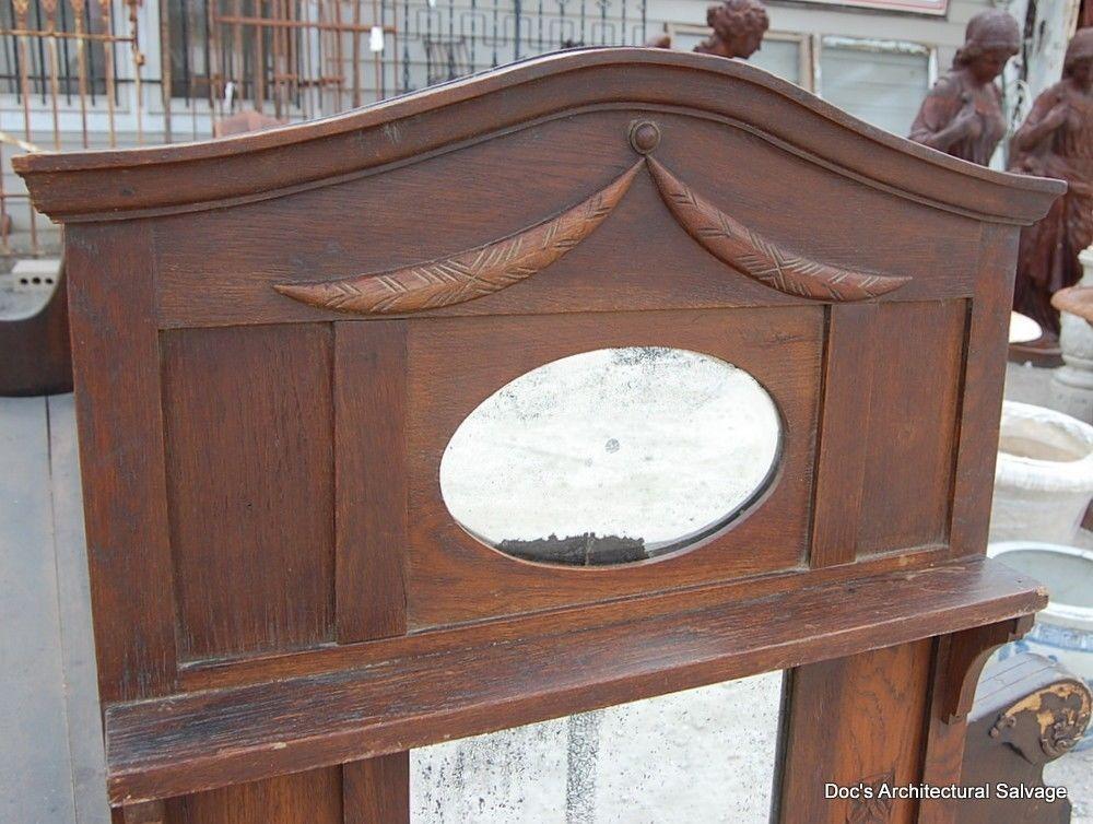 Antique Early 20th Century Beveled Mirror Wood Frame Shelf Vintage ...