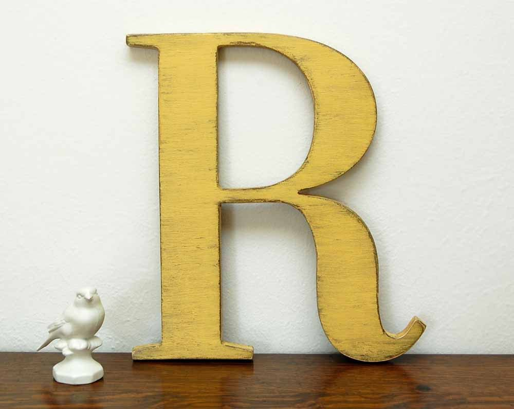 wall letter R wooden letters cottage decor signage Lamp black, or ...