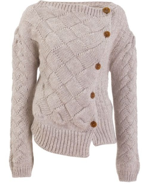Vivienne Westwood cardigan.entrelac - love the detail where it blends into stocking stitch