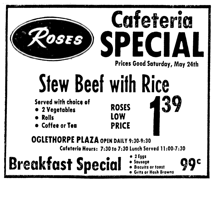 Roses Discount Stores May 1975 Cafeteria Special Breakfast Specials Roses Discount Store Cafeteria