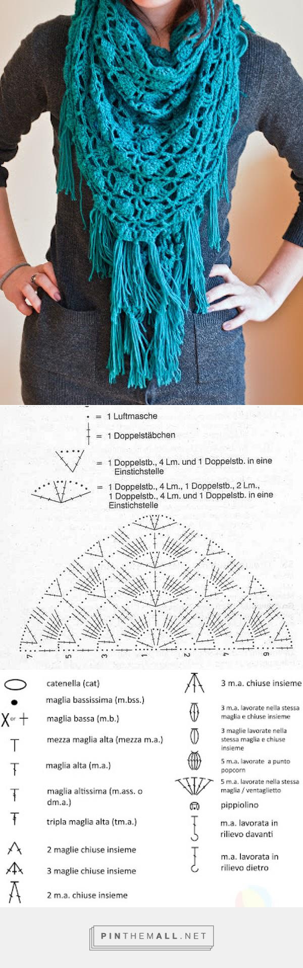 Pin de Silvia Mónica en Esqueleto | Pinterest | Chal, Ganchillo y Tejido