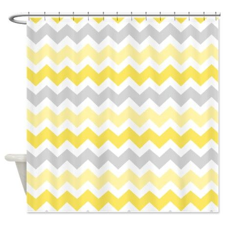 Yellow Grey Chevron Shower Curtain on CafePress.com   Yellow ...