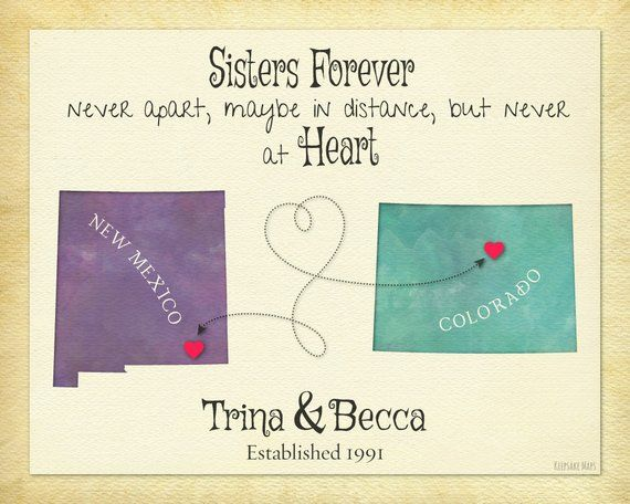Sister Gift Idea Moving Away Gift For Sister Sisters Forever Quote