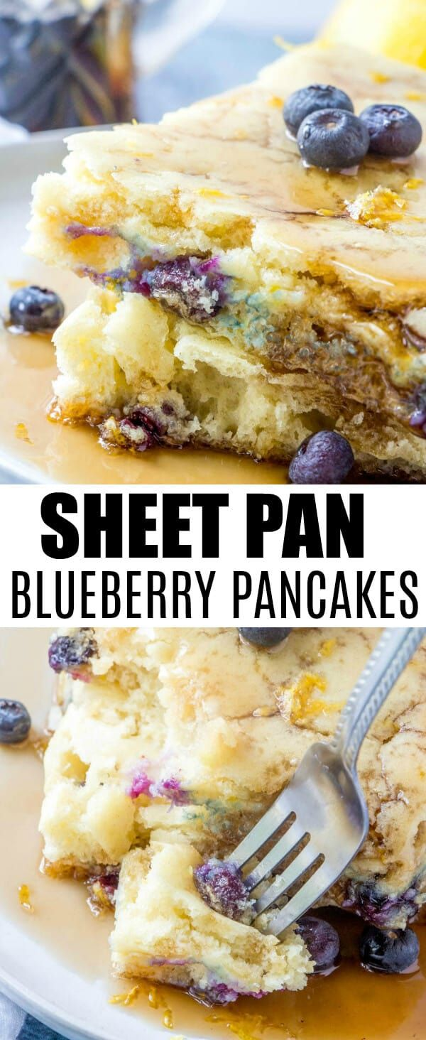 Sheet Pan Blueberry Pancakes Want a delicious and fluffy yet fruity breakfast with less hassle? These Sheet Pan Blueberry Pancakes are a quick and easy solution to all your morning needs.