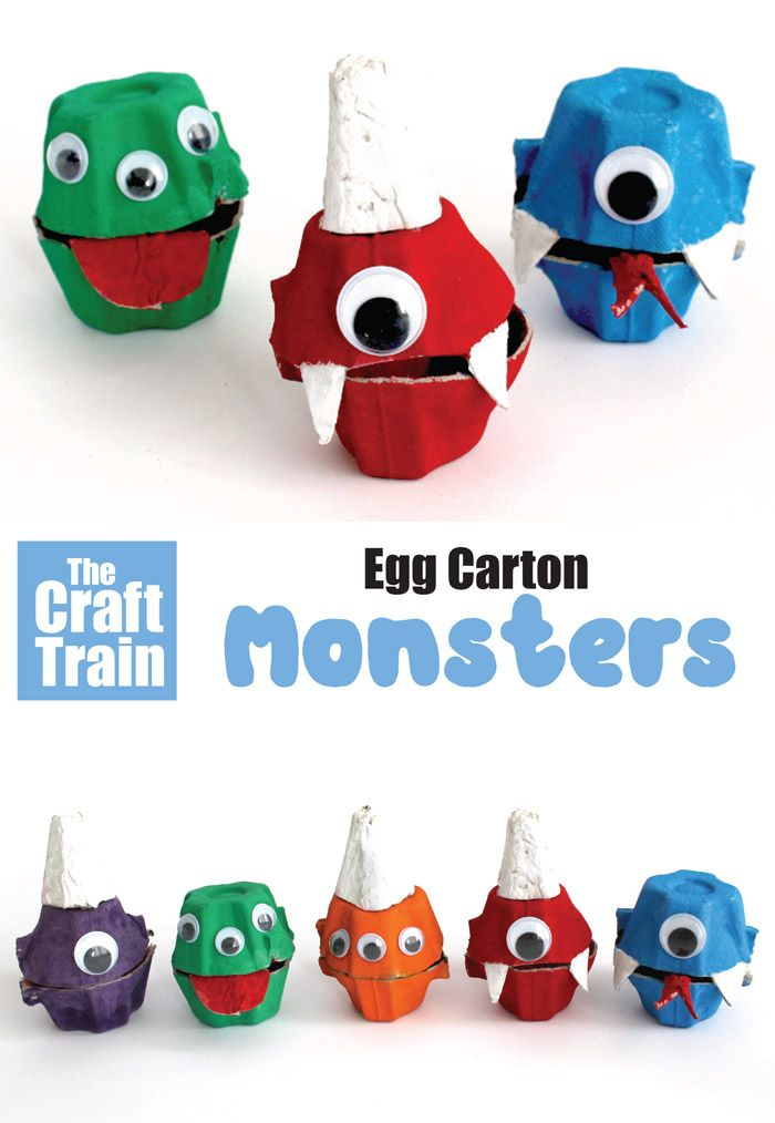 Egg Carton Monsters - Egg carton crafts, Green crafts for kids, Halloween crafts for kids, Kids' crafts, Crafts, Craft activities for kids - Make some egg carton monsters for a Halloween craft! They make cute mini treat holders and are fun to use for Halloween treasure hunts