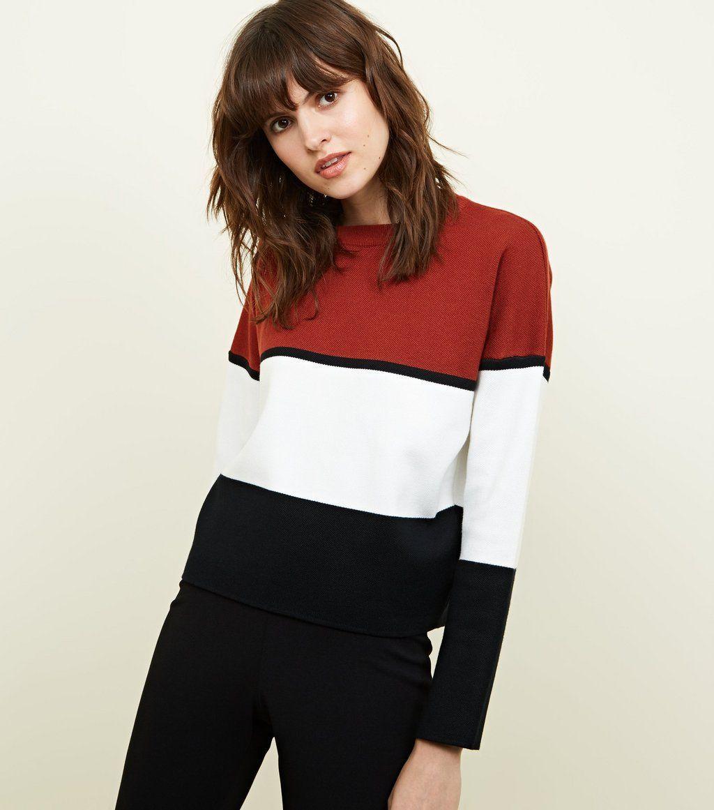Rust colour block jumper autumn style to buy pinterest jumper