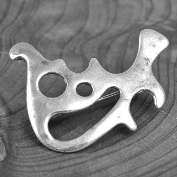 Frank Juhls Modernist 1960s Scandinavian Norway Vintage Sterling Silver Hallmarked 925 Brooch