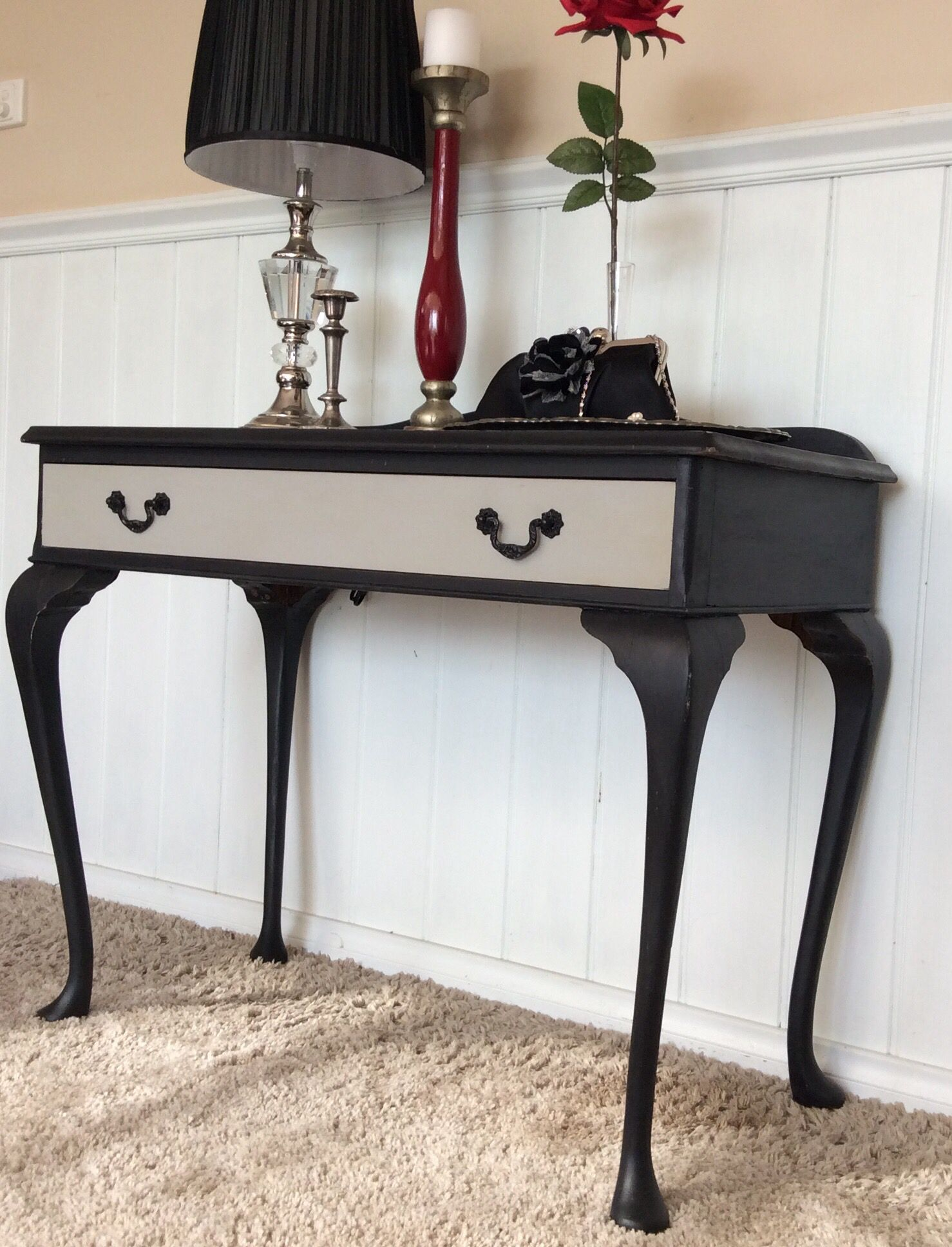 Refurbished Antique Queen Anne Console Table, Black Chalk Painted, And  Paris Grey On The